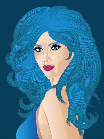 Fancy woman with long curly blue hair and eyes. Stock Vector - 24763349