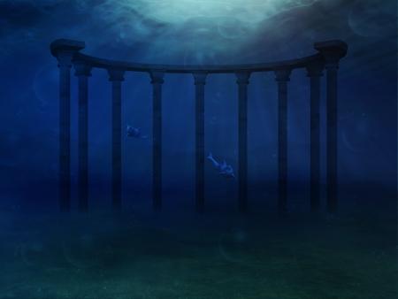 Résumé paysage sous-marin surréaliste avec des colonnes antiques. Banque d'images - 24904000