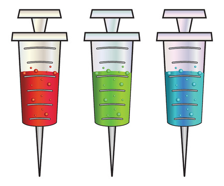 flu prevention: Set of cartoon syringes with red, green and blue liquid inside.