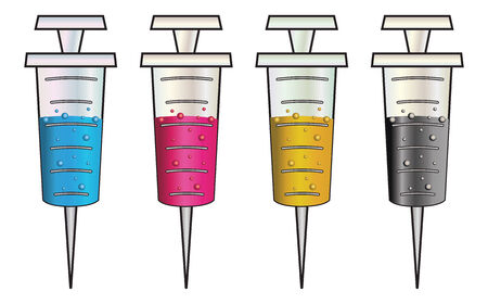 ordeal: Set of cartoon syringes filled with colorful liquids, CMYK.