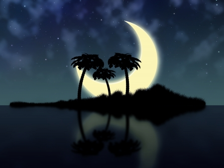 Big crescent moon over tropical island in the sea. photo