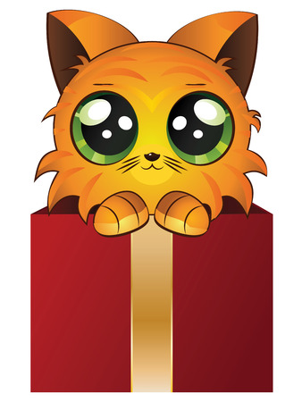 purring: Cute cartoon red kitten in a gift box on white background.