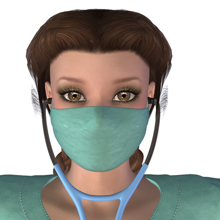 scrubs: Digitally rendered illustration of a woman in scrubs and mask white . Stock Photo