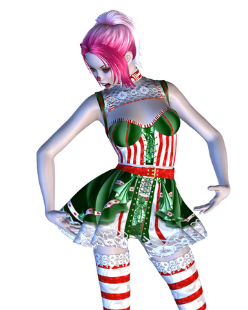 germanic people: Digitally rendered illustration of a doll in green with red stripes dress on white background.