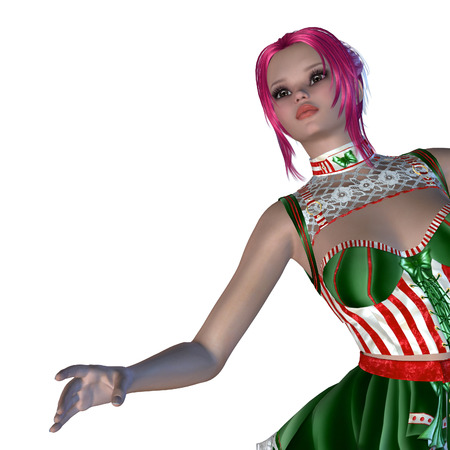 coy: Digitally rendered illustration of a girl in green with red stripes dress on white . Stock Photo