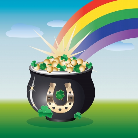 end of rainbow: Nice summer landscape with pot of gold on the end of the rainbow. Illustration
