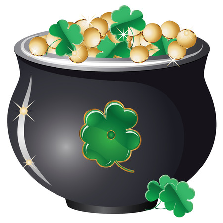 Mythical pot of gold coins on white background. Vector
