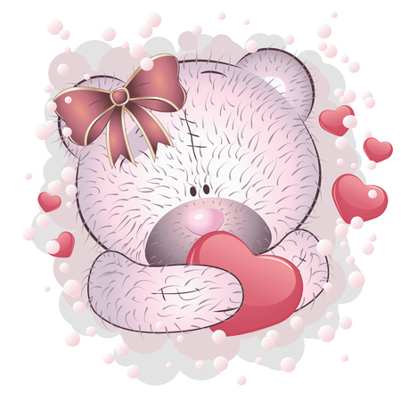 Cute cartoon pink teddy bear with heart on white background.