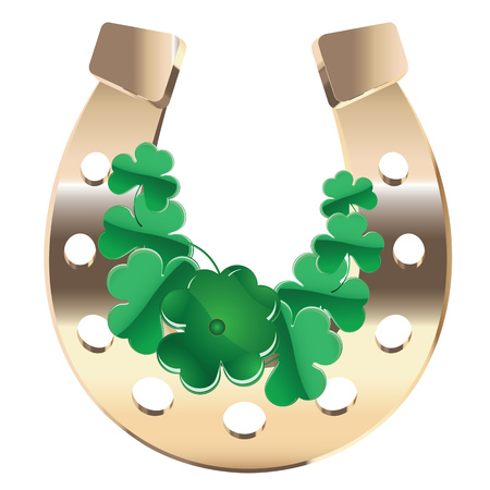 Luck symbol, gold horseshoe with green clover on white. Vector