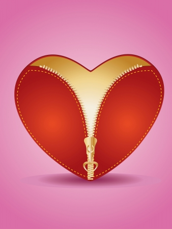 Valentines Day card with red heart and golden zipper on pink. Vector