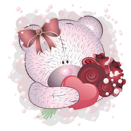 Cute cartoon pink teddy bear with roses on white background. Vector