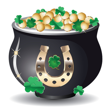 good luck charm: Mythical pot of gold coins on white.