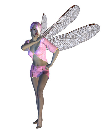 dragonfly wings: Digitally rendered image of a fairy in pink dress and dragonfly wings.