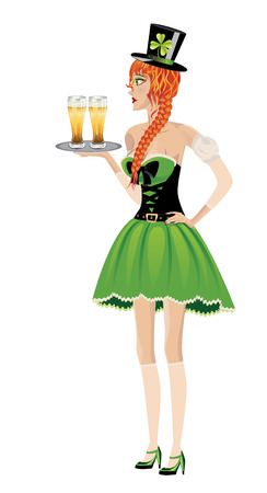 women s hat: Beautiful red haired leprechaun girl with glass of beer on white.