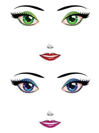 Cartoon female faces with green and blue eyes. Vector