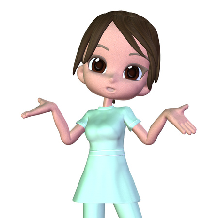 Digitally rendered image of a cute cartoon female nurse. photo