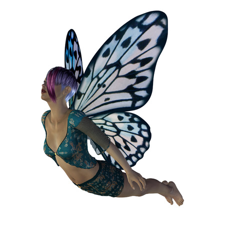 elven: Digitally rendered image of a fairy with blue butterfly wings.