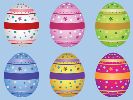 smoothed: Colorful decorative Easter eggs on light blue.