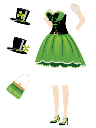 leprechaun girl: Green leprechaun girl dress with accessories on white.