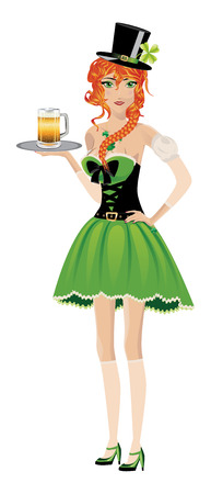 bodice: Beautiful red haired leprechaun girl with glass of beer on white.