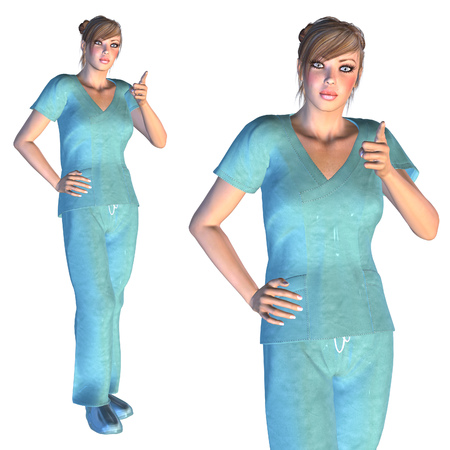 Digitally rendered image of a female nurse or young doctor in scrubs. photo