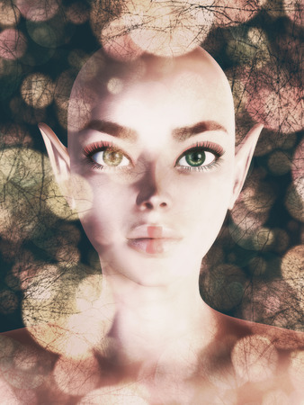 Hairless fairy portrait with abstract bokeh lights background. photo