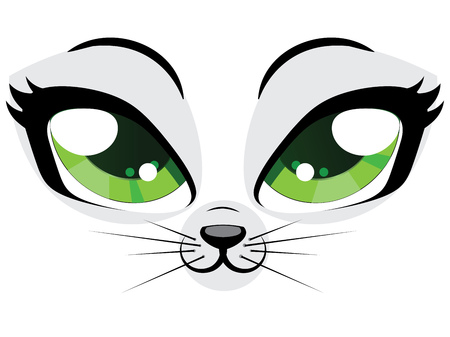Cute cartoon kitten face with green eyes on white background. Ilustração