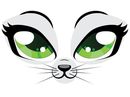 Visage de chaton de bande dessinée avec des yeux verts sur fond blanc. Banque d'images - 25966557