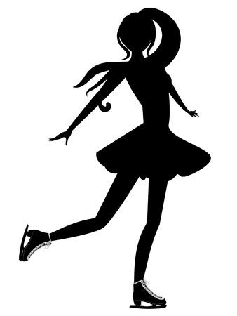 figure skater: Silhouette of an abstract cartoon girl figure skater. Illustration