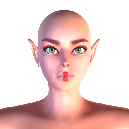 Digitally rendered portrait of an abstract fairy with green eyes, hairless.