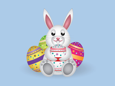 Cute small white lovely bunny with colorful Easter eggs. Vector