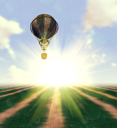 Hot air balloon over grass field background. photo