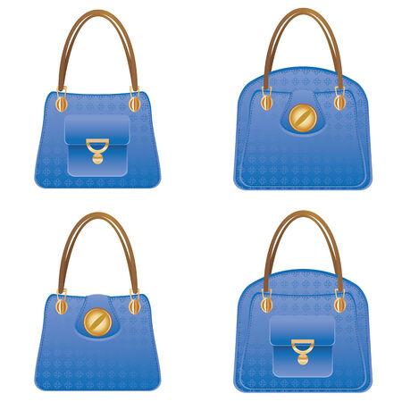 Fashion womans blue handbag designs on white background.