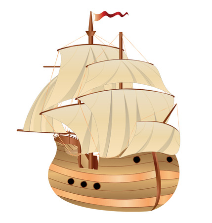 Vintage wooden sailing ship on white background. Vector