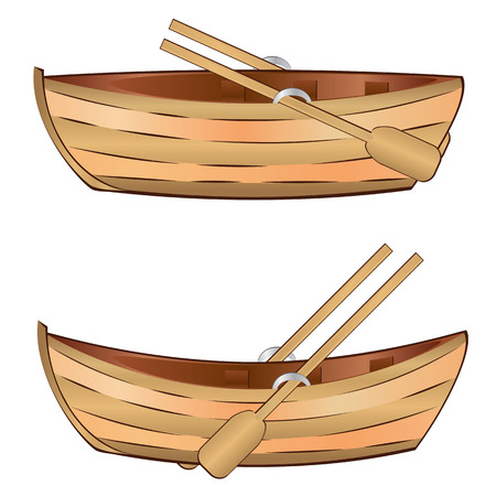 Vintage wooden boat with paddles on white background.