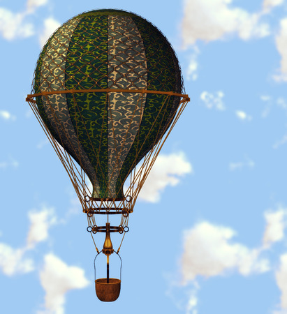 Big hot air balloon high fly in the sky. photo