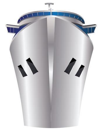 Modern ocean cruise ship on white background. Illustration