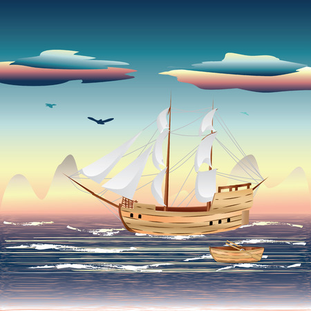 Old sailing ship on the open ocean at sunset. Vector