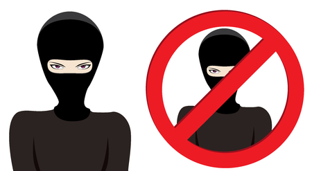 ruffian: Man in a black mask, thief, terrorist or special force soldier on white background. Illustration