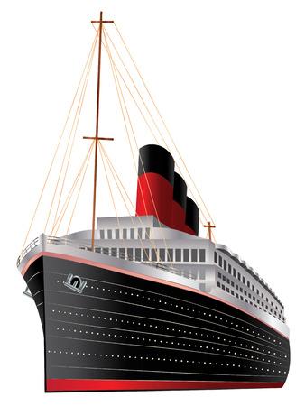 Retro cruise liner illustratie op witte achtergrond.