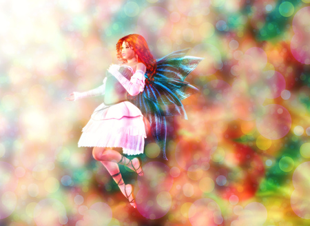 Fantasy fairy on colorful background with bokeh light effect. photo