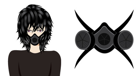 Man Wearing a gas mask, respirator. Anime style illustration on white background. Vector