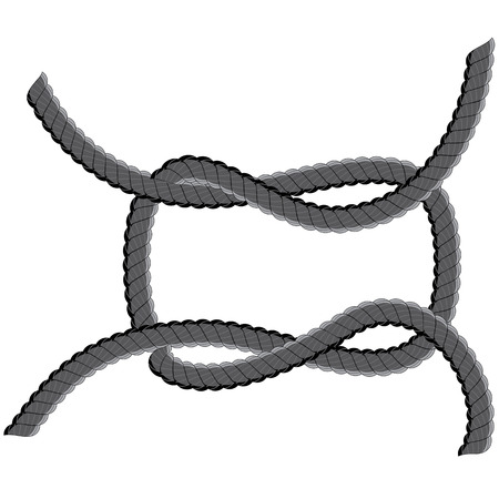 Loop made of old rope on white background. Vector