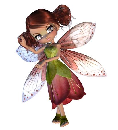elven: Digitally rendered illustration of cartoon blossom fairy on white background.