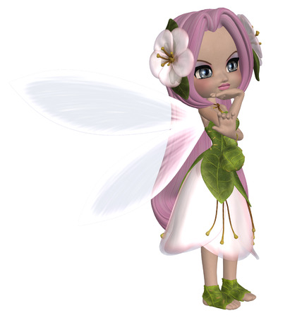 fey: Digitally rendered illustration of a cute fairy in floral dress.