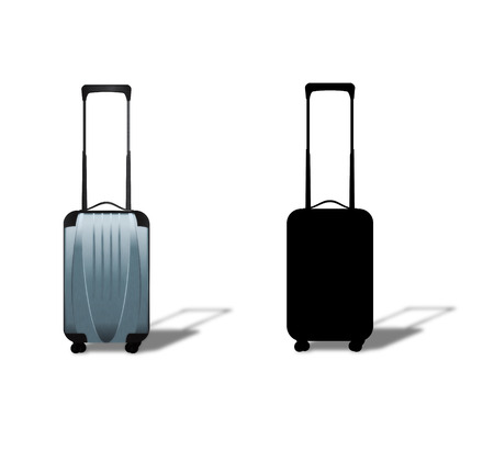 Silver plastic suitcase on wheels on white background. photo