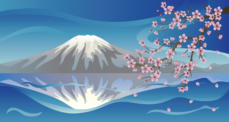 Bright background with volcano and sakura blossom. Vector