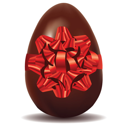 tied up: Chocolate egg with red bow, illustration was made with gradient mesh. Illustration
