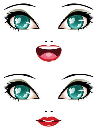 Smiling female face with stylized anime eyes of green color. Vector