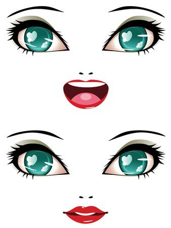 ojos anime: Sonriente rostro femenino con estilizados ojos de anime de color de verde. Vectores